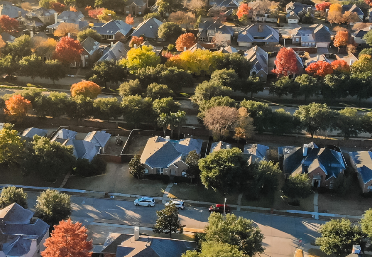 Birds eye view of a suburban development in autumn